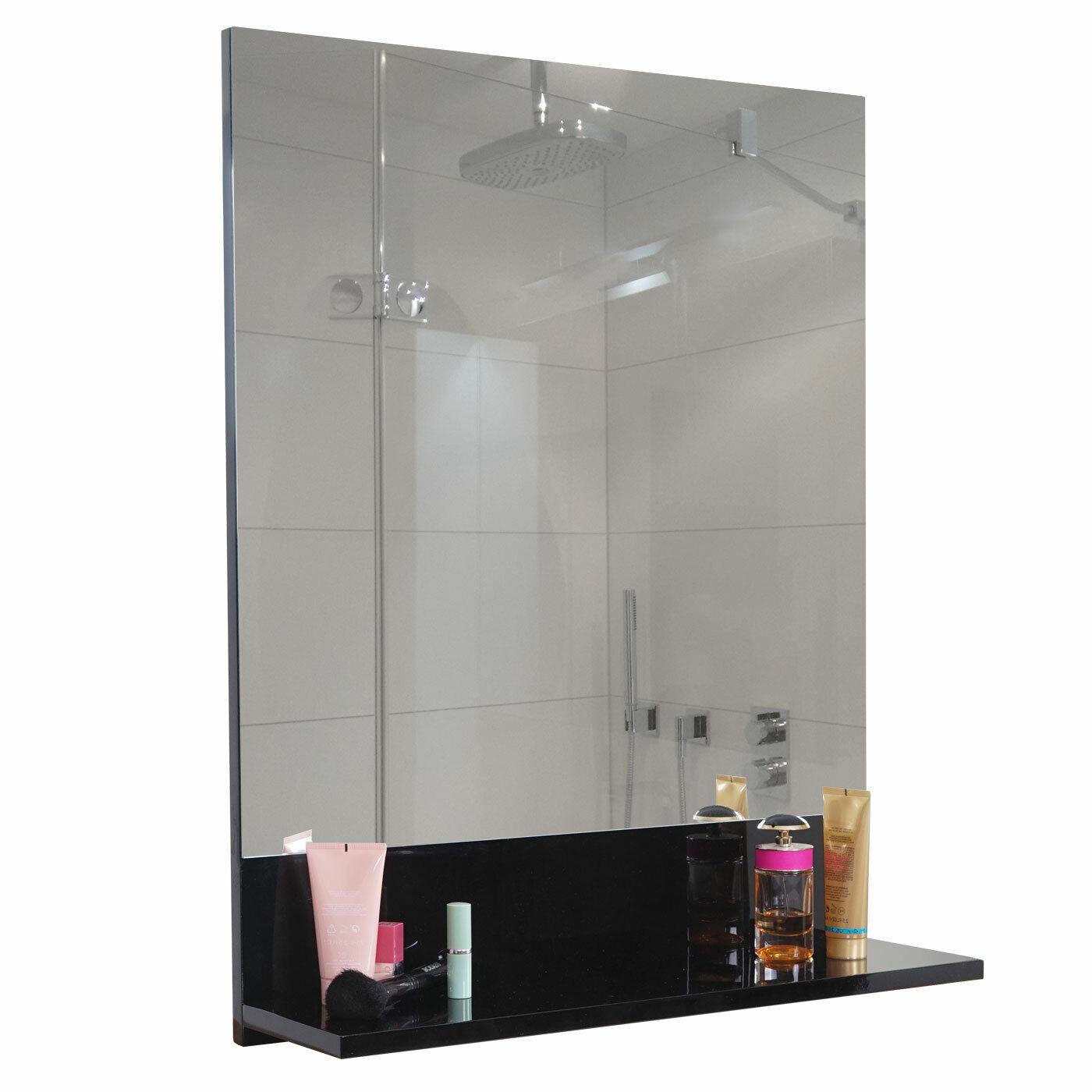 Espejo de pared con archivador mcw-b19, cuarto de baño, brillante 75x60cm negro