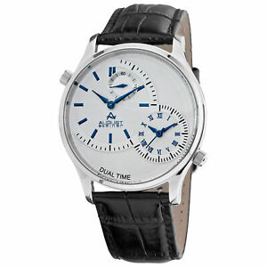 New-Men-039-s-August-Steiner-AS8010BU-Quartz-Dual-Time-Black-Leather-Strap-Watch