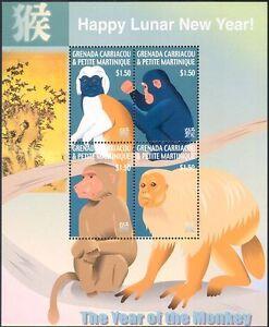 Grenade-Grenadines-2004-Yo-singe-GREETINGS-Chimpanze-BABOUIN-4-V-M-S-n15433