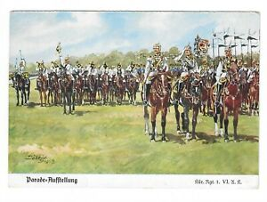 AK-Kuenstlerkarte-v-Doebbrich-Steglitz-034-Parade-Aufstellung-Kuer-Rgt-1-VI-U-K