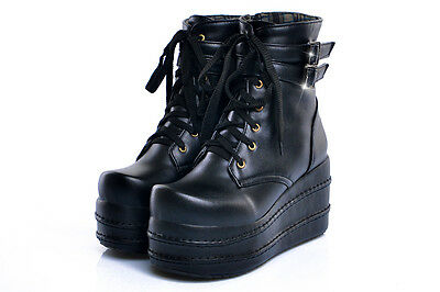 womens goth lace up ankle boots platform wedge Fashion shoes Punk