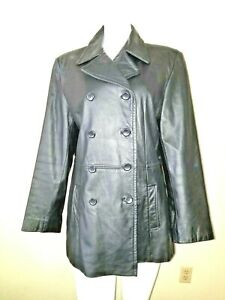 Nice-Vtg-Black-COLEBROOK-CO-Size-L-Leather-Jacket-w-Pockets-Double-Breasted
