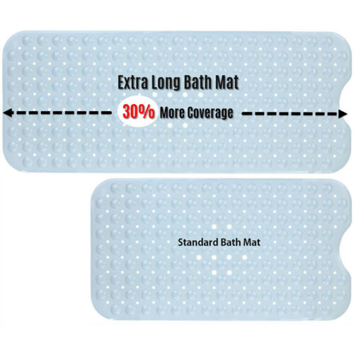 """16/""""W x 39/""""L in Gray by SlipX Solutions Extra Long Bath Mat"""
