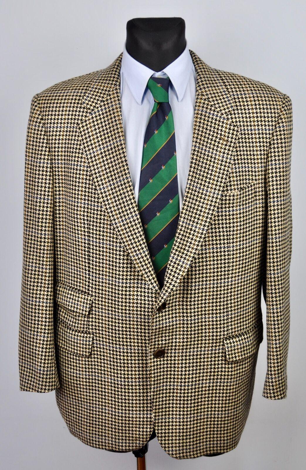 BESPOKE REGENT PIED DE POULE Blazer in Tweed Fatto Mano a Mano Fatto S Giacca Di Lana EUR 56S G 1454f0