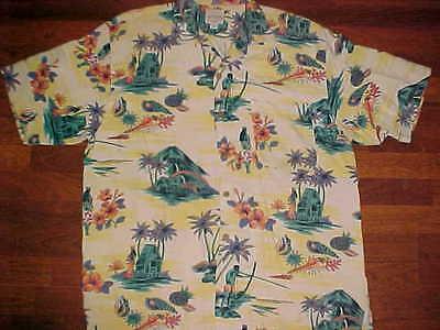 Tommy Bahama An Original Brown Gold Silk Cotton Shirt Pool Hawaiian Beachwear L