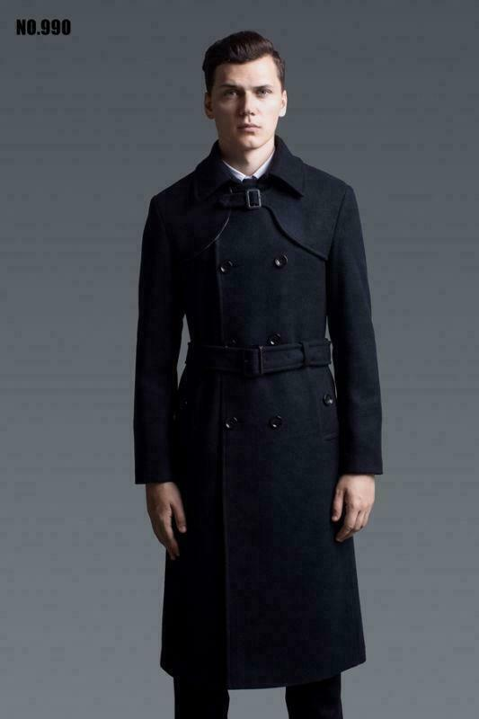 Mens Wool Blend Coat Trench Jacket Outwear Military Double Breasted Overknee New