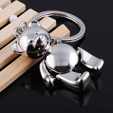 3D TEDDY BEAR MOVING ARMS LEGS SILVER METAL KEYCHAIN KEYRING HANDBAG CHARM NEW