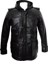 Mens Black Leather 3/4 Length Duffle Coat Jacket Hooded Hoody Size S M L Xl 2xl