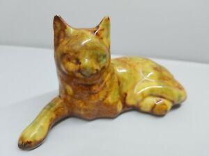 "Vintage Hot Springs Ark. Brown Multicolor Drip Glaze Cat Hand Made Figurine 5.5"""