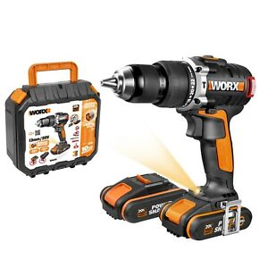 WORX-20V-13mm-Cordless-Hammer-Drill-Driver-2x-Batteries-amp-carry-case