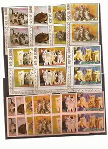 EQUATORIAL-GUINEA-Cats-theme-14-pairs-of-7-normal-issues-amp-non-full-color-imper