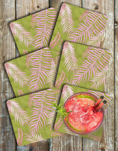 Neoprene Drink Coasters Set of 6 Green and Pink Tropical Leaves