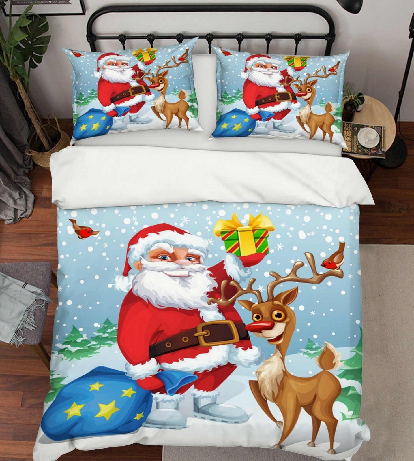 3D Christmas Xmas Paint 71 Bed Pillowcases Quilt Duvet Cover Set Single Queen UK