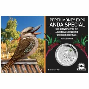 AUSTRALIE-1-Dollar-Argent-1-Once-Kookaburra-Colorisee-Marque-Expo-ANDA-2020