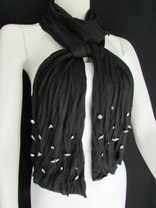 New-Women-Scarf-Soft-Fabric-Fashion-Black-Long-Necklace-Silver-Metal-Stars-Studs