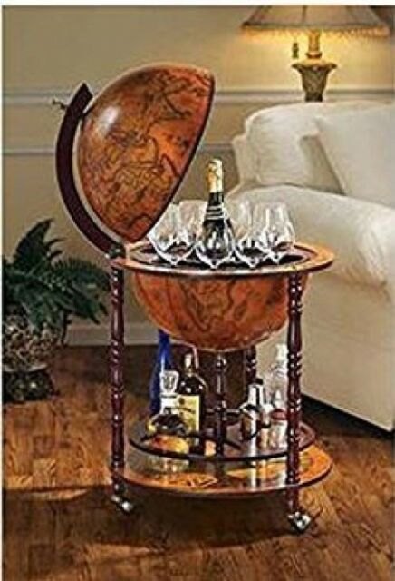 Vintage Liquor Cabinet 16th Century Globe Antique Home Bar Wine ...