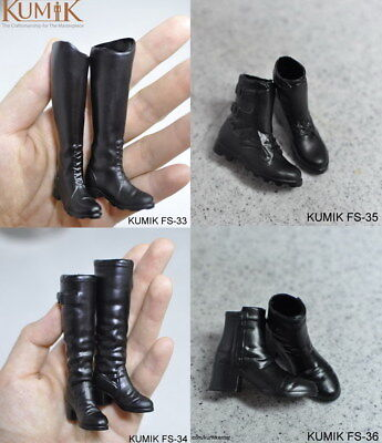 "KUMIK 1//6 Black Leather Boots Female Shoes Model FS-34 For 12/"" Action Figure"
