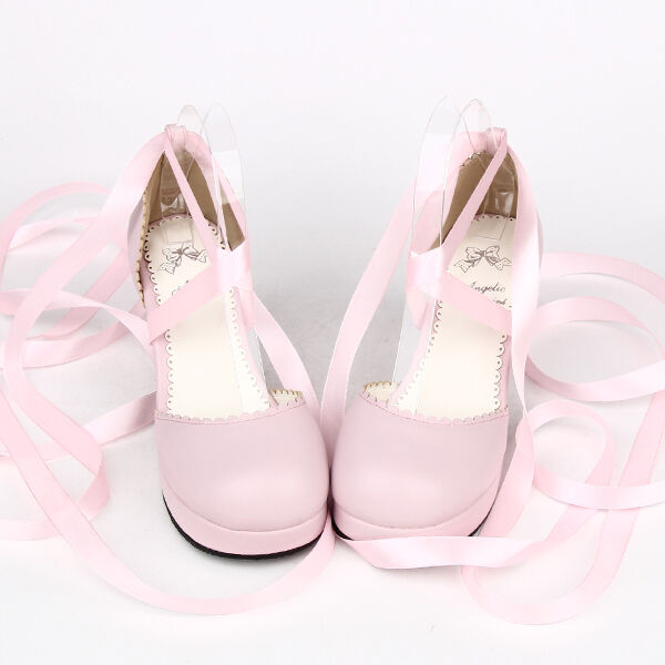 Rosa Pink Sweet Lolita Damen-schuhe Sandale party Lace Farbband ribbon tea party Sandale pumps 5e7533