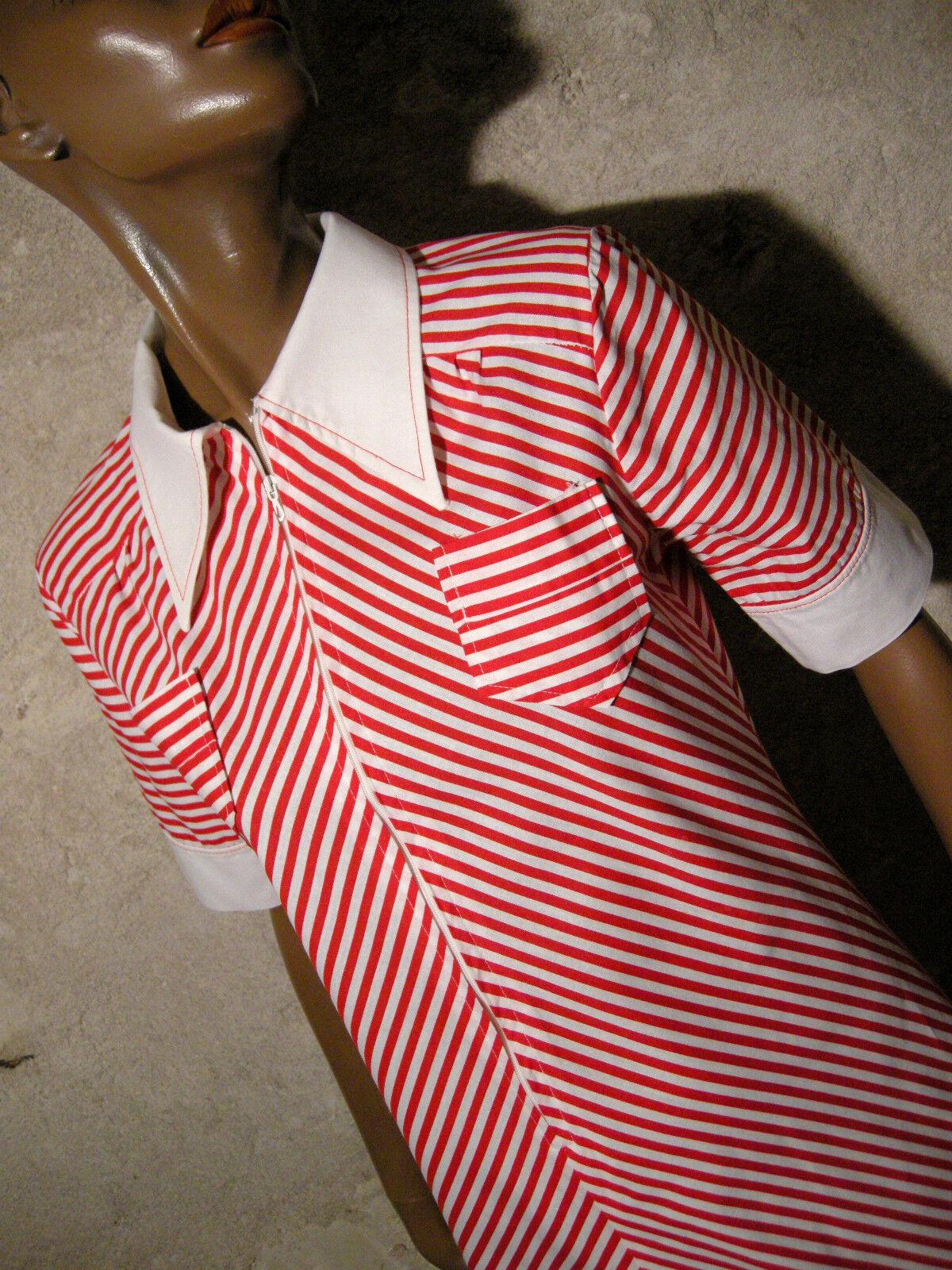 Schick Vintage Kleid Fischgräte 1970 Vtg Streifen 70s 70er Kleidung (36 38)