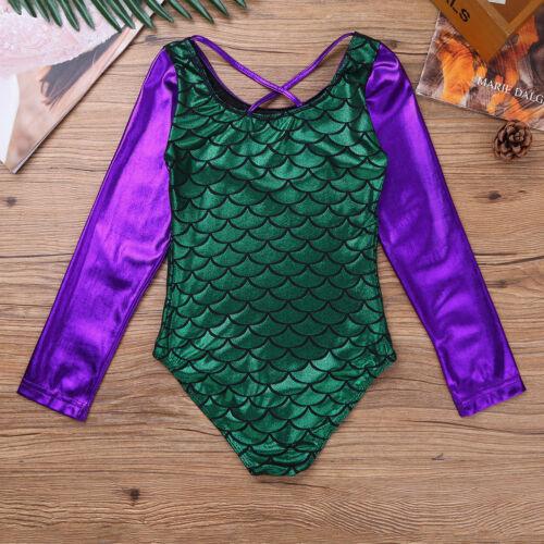 Girls Leopard Ballet Dance Leotards Gymnastics Mermaid Scales Dancewear Costumes