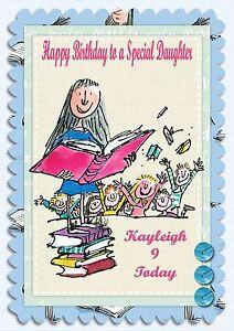 Image Is Loading Matilda Roald Dahl Large Personalised Birthday Card Grandaughter