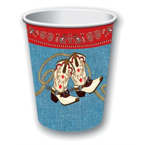 Way Out Party Cowboy Western Paper Rodeo Barn 9oz Pack Of 8 Wild West Cups