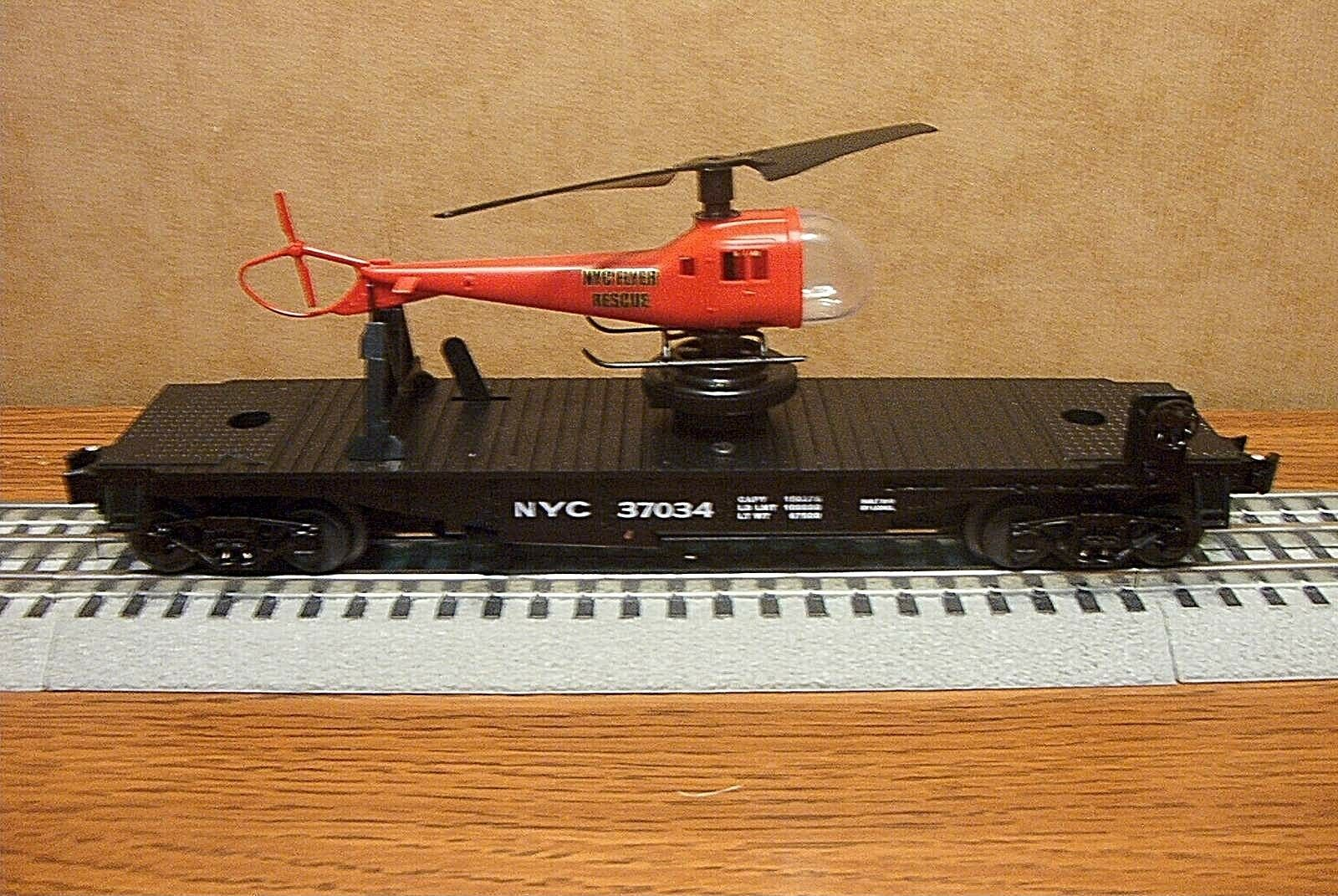 LIONEL NEW YORK CENTRAL HELICOPTER FLAT CAR w RESCUE HELICOPTER O GAUGE