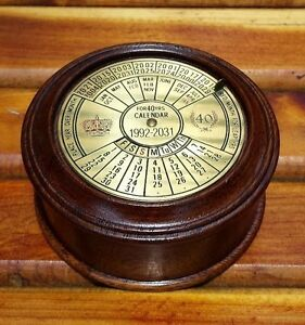 Image Is Loading Vintage Mahogany Amp Brass Round 40 Year Perpetual