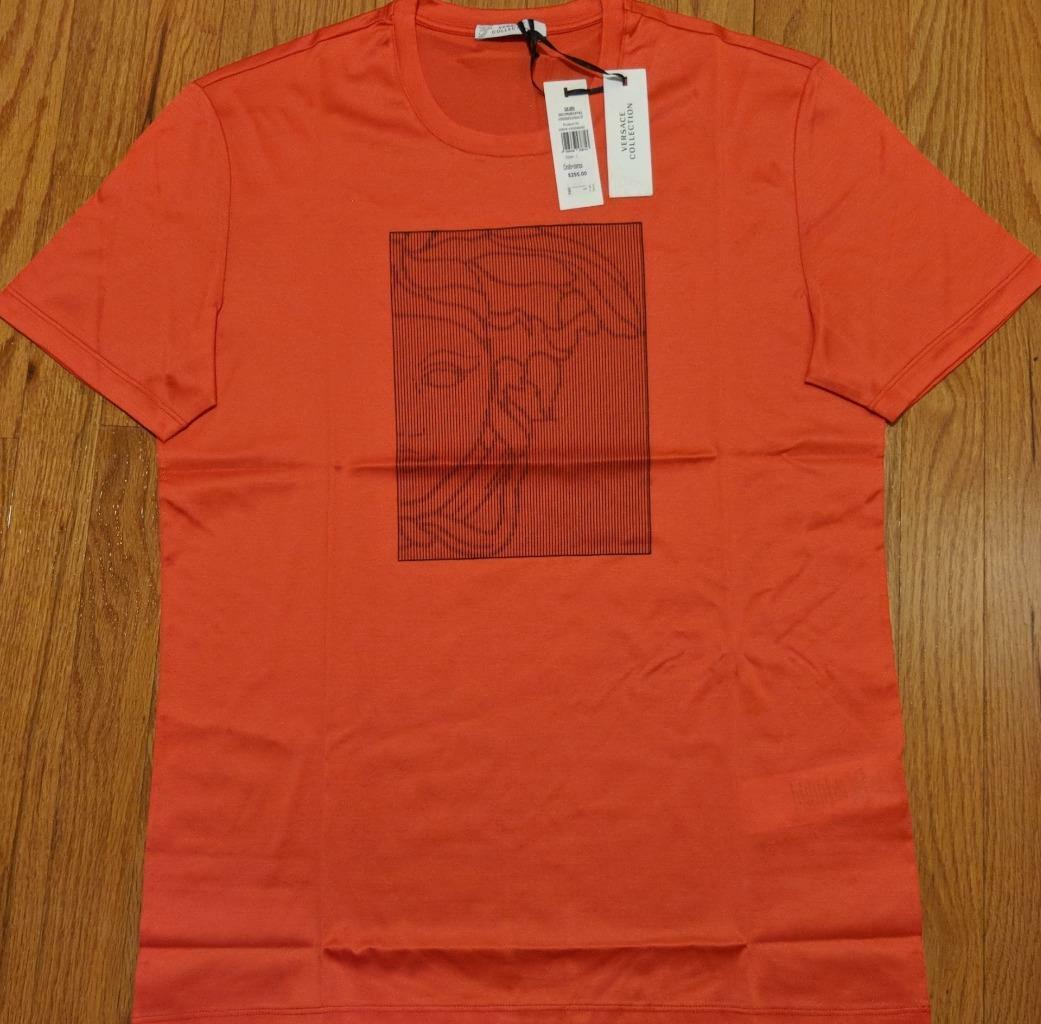 Mens Authentic Versace Collection Box Print T-Shirt Coral Large