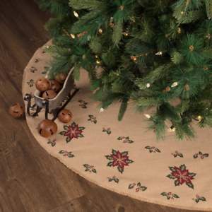 separation shoes 53ca1 3fe47 Details about New Primitive Rustic Red BURLAP POINSETTIA Christmas Tree  Skirt Large 60