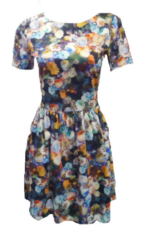 Womens Ladies New Floral Blues Printed Skater Dress Sizes 8-18