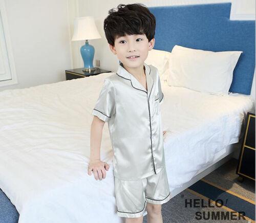 Boys Silk Pajamas Pyjamas Satin Kids Children Sleepwear Nightgown Loungewear Set