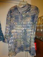 Bonworth Bon Worth Button Front Shear Blouse 3/4 Sleeve Mp Blue Silver Gold