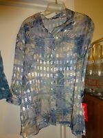 Bonworth Bon Worth Button Front Shear Blouse 3/4 Sleeve Mp Blue Silver Gold