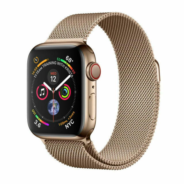 Apple Watch Series 4 44 Mm Gold Stainless Steel Case With Gold Milanese Loop Gps Cellular Mtv82ll A For Sale Online Ebay