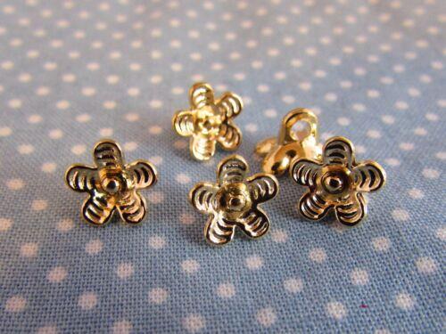 9mm ORO in metallo a forma di fiore Shank Camicia Blusa pulsanti in Confezione assortiti