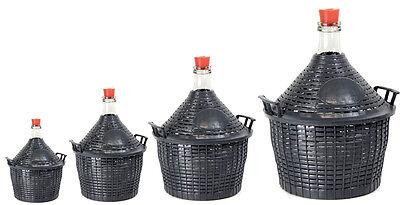 Weinballon Glasflasche Glasballon Glasgärballon + Kunststoffkorb + Gummistopfen