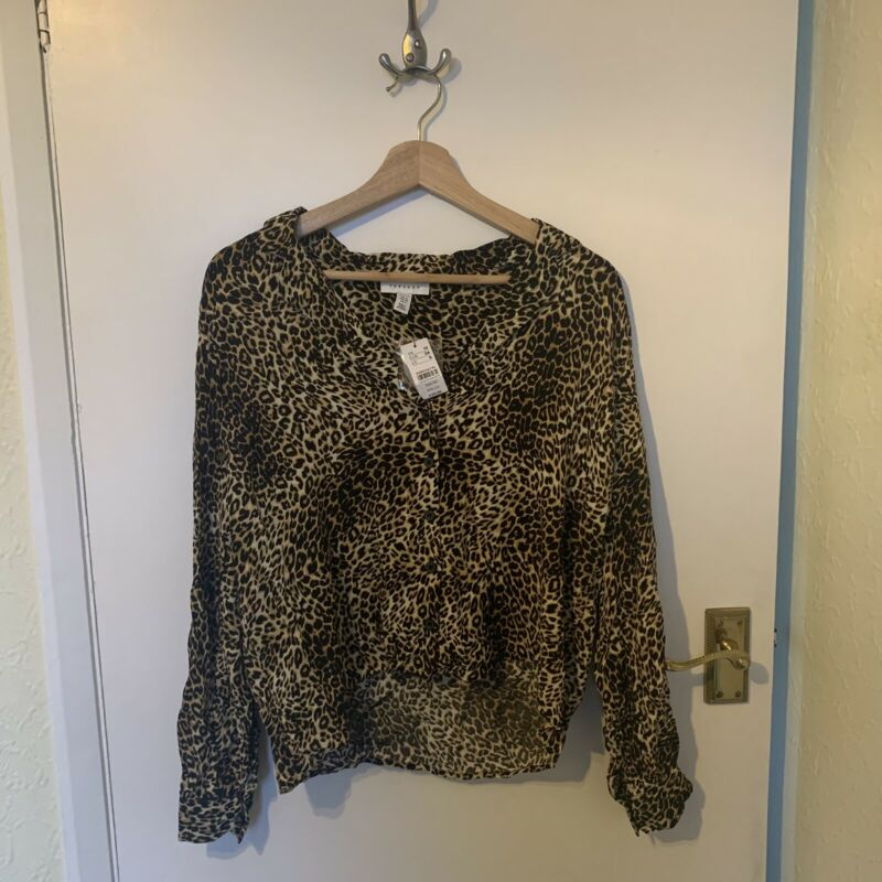 Topshop Leopard Print Shirt Size 10 New With Tags