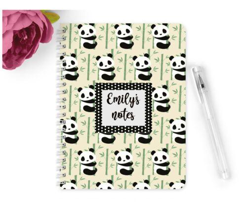 Personalised Notebook Notepad A5 Cute Panda Girls Boys School Planner Office