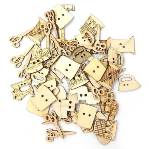 100Pcs Sewing Machine Scissors Shaped Wooden Buttons Sewing Button For Chil Y2L4