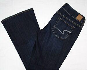 American-Eagle-AE-Artist-Flare-Dark-Stretch-Denim-Blue-Jeans-12-S-x-30-034-Mint