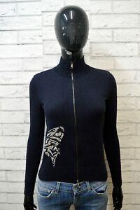 PAUL-SHARK-Maglione-Felpa-Donna-Taglia-XS-Pullover-Sweater-Cardigan-Seta-Blu