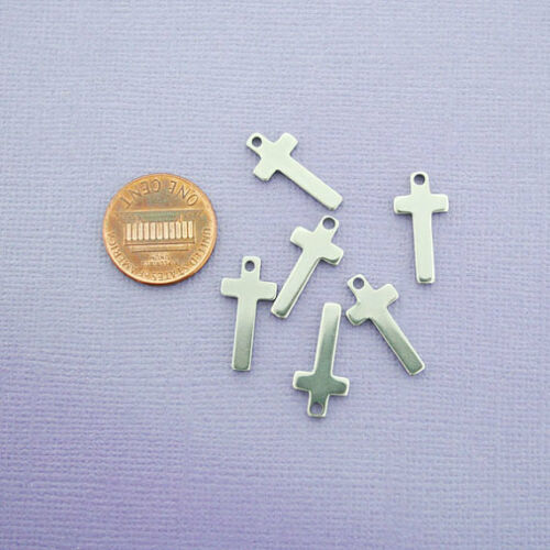 10 Stainless Steel Cross Pendants Stamping Tags MT250