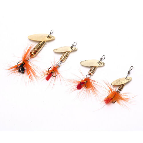 Sequin Spoon Fishing Lures Metal Spinner Feather Crankbait 2g 3g 4g Tackle BI bk
