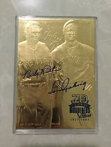 BABE-RUTH-LOU-GEHRIG-70TH-ANNIVERSARY-SCULPTED-AUTOGRAPHED-23KT-GOLD-CARD