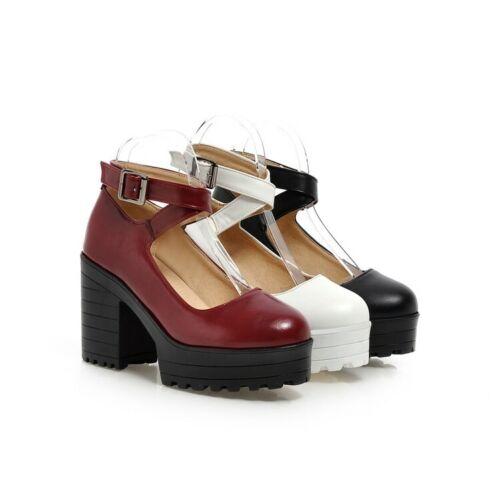 Womens Punk Chunky High Heels Shoes Ladies Platform Ankle Strap Pumps Shoes Size
