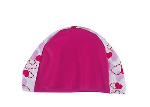 Girls-Fashy-Fabric-Swim-Hat-Cap-Pink-with-Hearts-New