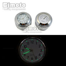 "Chrome 7/8"" To 1"" Motorcycle Handlebar Bar Mount Clock Watch for Harley Cruiser"