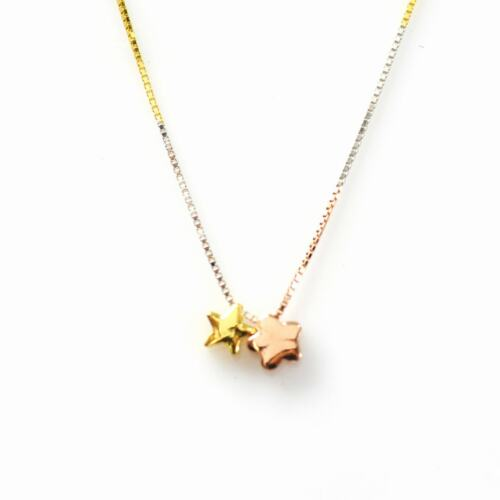 De Buman Goldplated 925 Silver Three-tone Double Star Necklace