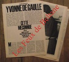 Gros article Yvonne de Gaulle ,photos  ,1980 , clipping